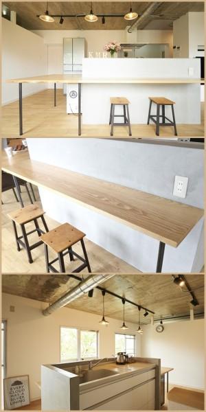 5-2_こだわりのモルタル腰壁で作られた、カフェ風カウンターキッチン