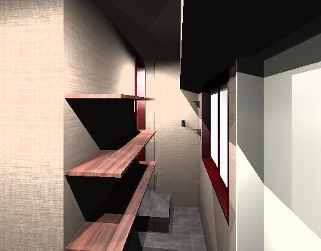 拡張した玄関土間。LDKはに繋がる廊下と、主寝室へ直接入れる動線と、二つのアプローチを確保している