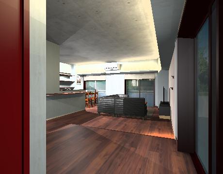 あらわし天井と間接照明。天井を照らす間接照明がコンクリートの質感を表現している