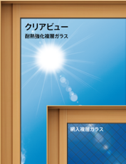 網なしガラスの防火窓