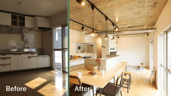 キッチンのレイアウト変更の例。壁付け型からアイランドキッチンに。位置も大きく移動した。