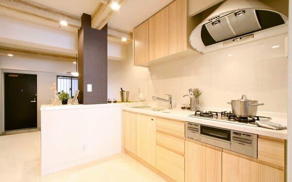 壁付け型キッチンの例