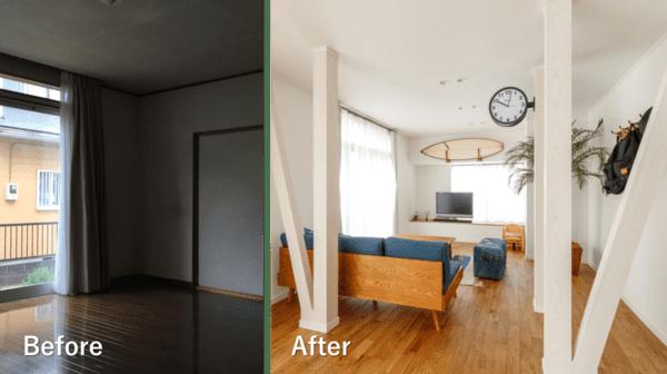 戸建てのリノベーション施工例。既存の間仕切り壁を壊し、二つの部屋を一体化することで広いリビングを実現した。間仕切り壁には筋交が入っており、構造耐力上抜くことができなかったが、デザインとして取り入れた。