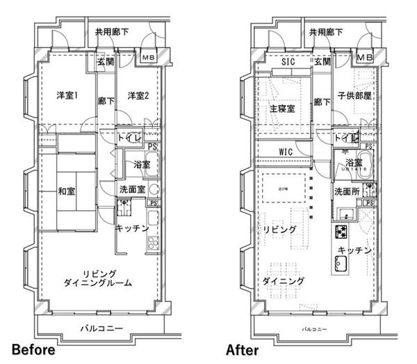 スケルトンリノベーションの例。リビングダイニング・キッチン・和室と、分断されていた部屋をひとつに統合して、広々としたLDKに。