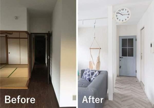 スケルトンリノベーションの例。和室をリビングに吸収。内装は西海岸風のデザイン。