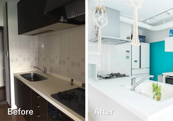 スケルトンリノベーションの例。リビングと分断されていたキッチンを対面式にレイアウト変更。