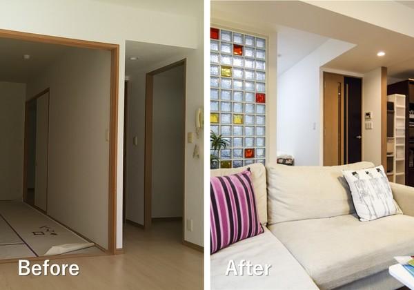部分リノベーションの例。LDKと寝室の壁を取り払い、かわりにガラスブロックの間仕切りを設置。