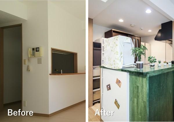 部分リノベーションの例。視界を覆っていた壁を取り払い、リビングまで見通せるようになっている。