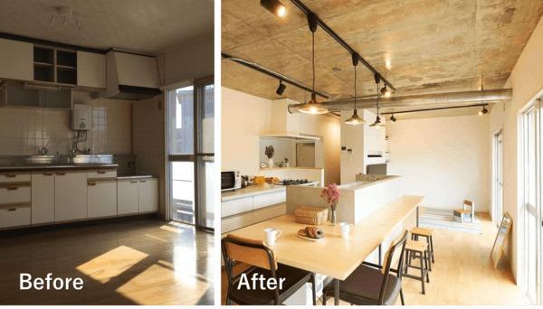 リビングのリノベーション施工例4。アイランドキッチンを中心にしたLDK。キッチンカウンターをダイニングテーブルとして利用し、キッチンを家族団らんの場に。キッチンツールや食材は二列のキャビネットに全て収納し、生活空間からは見せない収納。