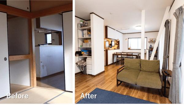 リビングのリノベーション施工例3。既存のリビングと隣室を一体化した。もとは和室だったが、フローリング張りの洋室に。押入れだったスペースを、子どもの勉強道具の収納空間として活用。リビングから直接出入りできるので、子どもの片付け習慣が定着しやすい。