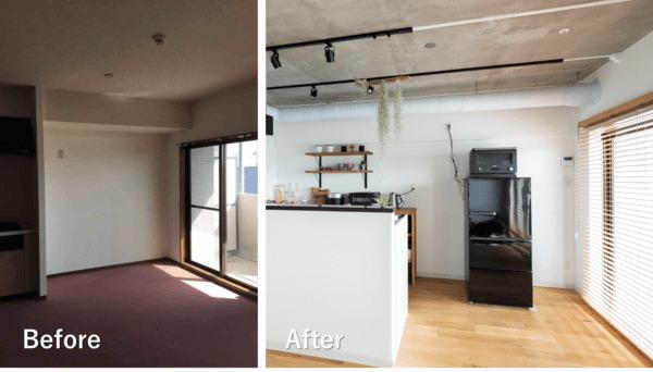 リビングのリノベーション施工例2。コンクリート打ちっぱなしの天井、アイアンのダクトレールと、全体にインダストリアルテイストで仕上げた。キッチンはなるべく壁をなくし、デザイン家電やスパイス類を見せる収納で、インテリアのポイントにしている。