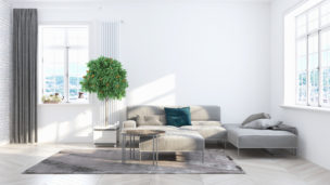 Beautiful modern living room interior with sofa. 3D rendering