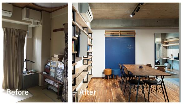和室と洋室の天井の高さを揃え空間に連続性を持たせた事例