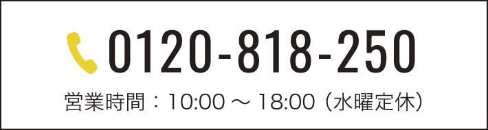 0120-818-250 営業時間:10:00~18:00 (水曜定休)