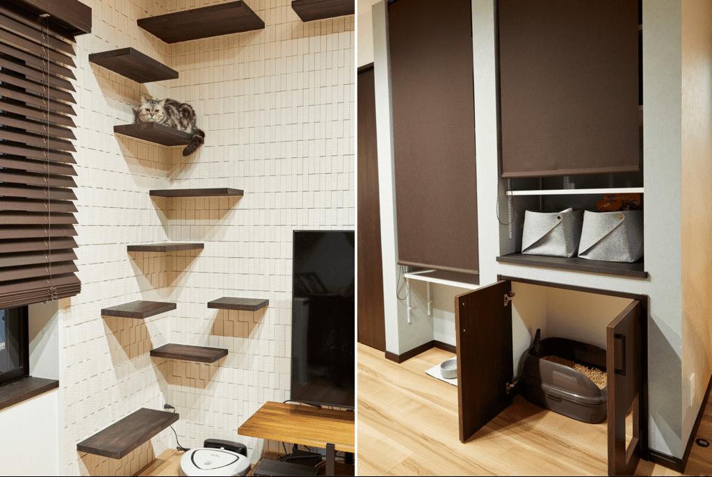キャットウォークと猫トイレ。ニオイ対策に換気経路の確保と、エコカラットを壁面にあしらった。