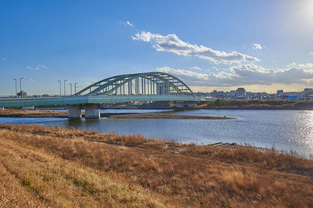 狛江市から見る多摩川