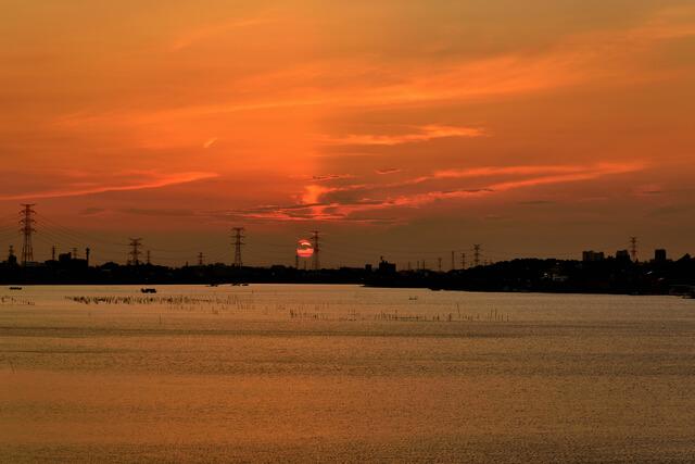 千葉県 手賀沼の夕景