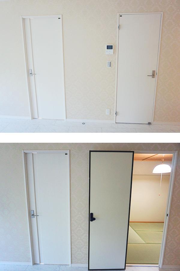 ホテルライクな真っ白なドアは、和室側をフスマ風に変更